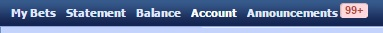 sbobet Menu bar account