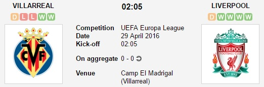 sbobet today Villarreal v Liverpool 28-4-2016