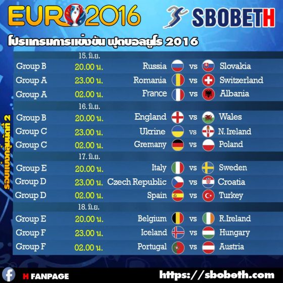 sbobet fixtures euro 2016 group stage round 2